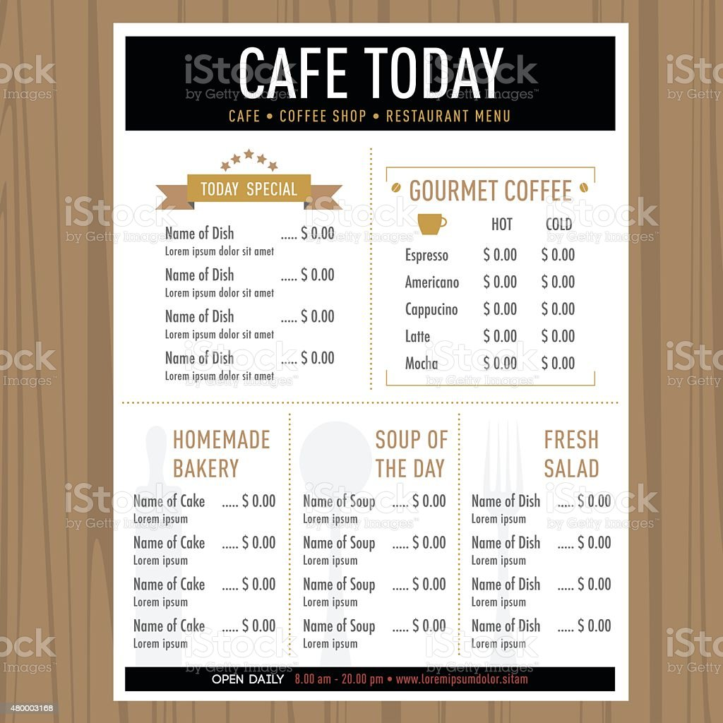 Menu design template layout cafe restaurant hipster style for Restaurant layout templates
