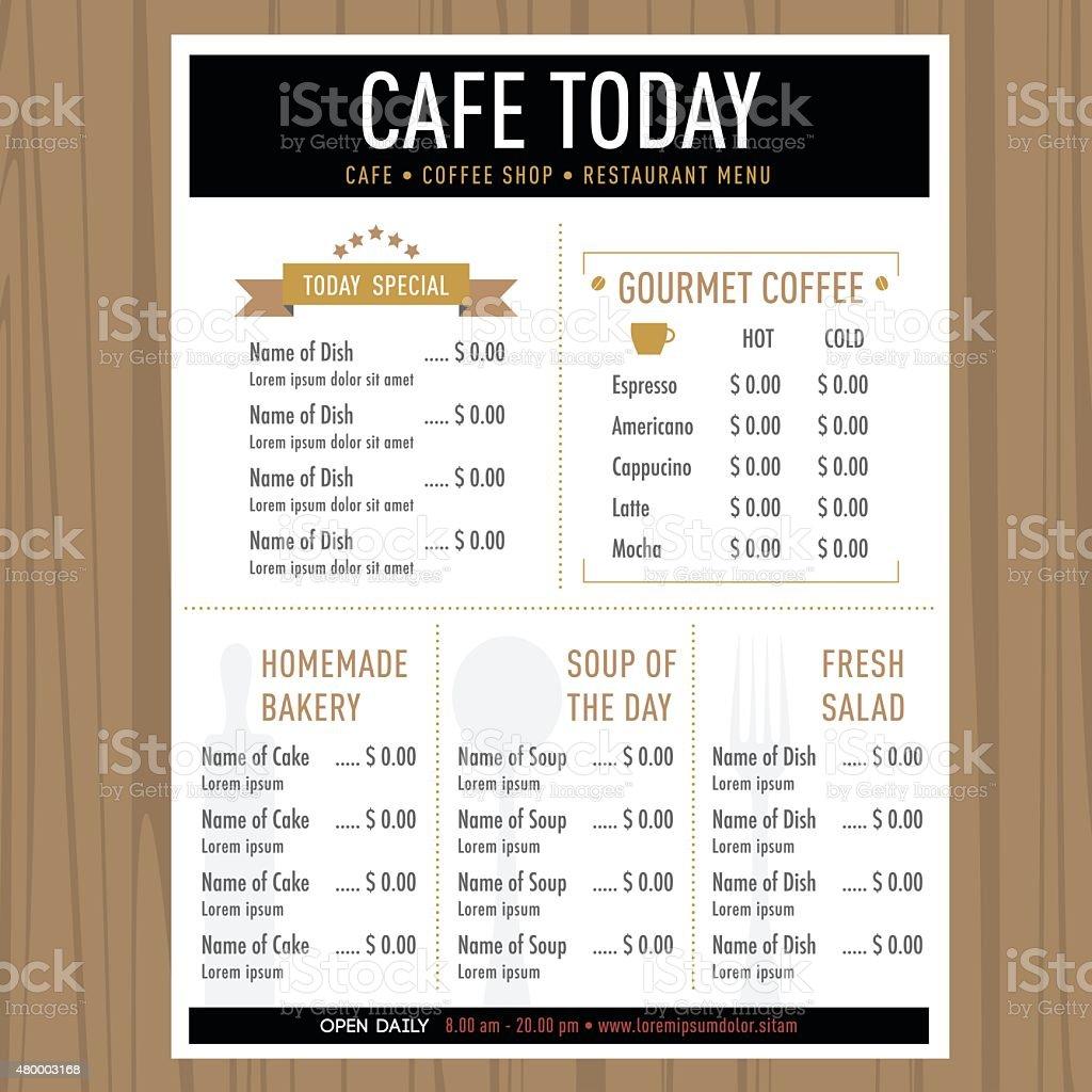Menu design template layout Cafe Restaurant Hipster style vector art illustration