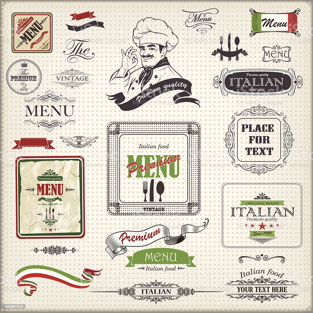 ITALIAN menu design vector art illustration
