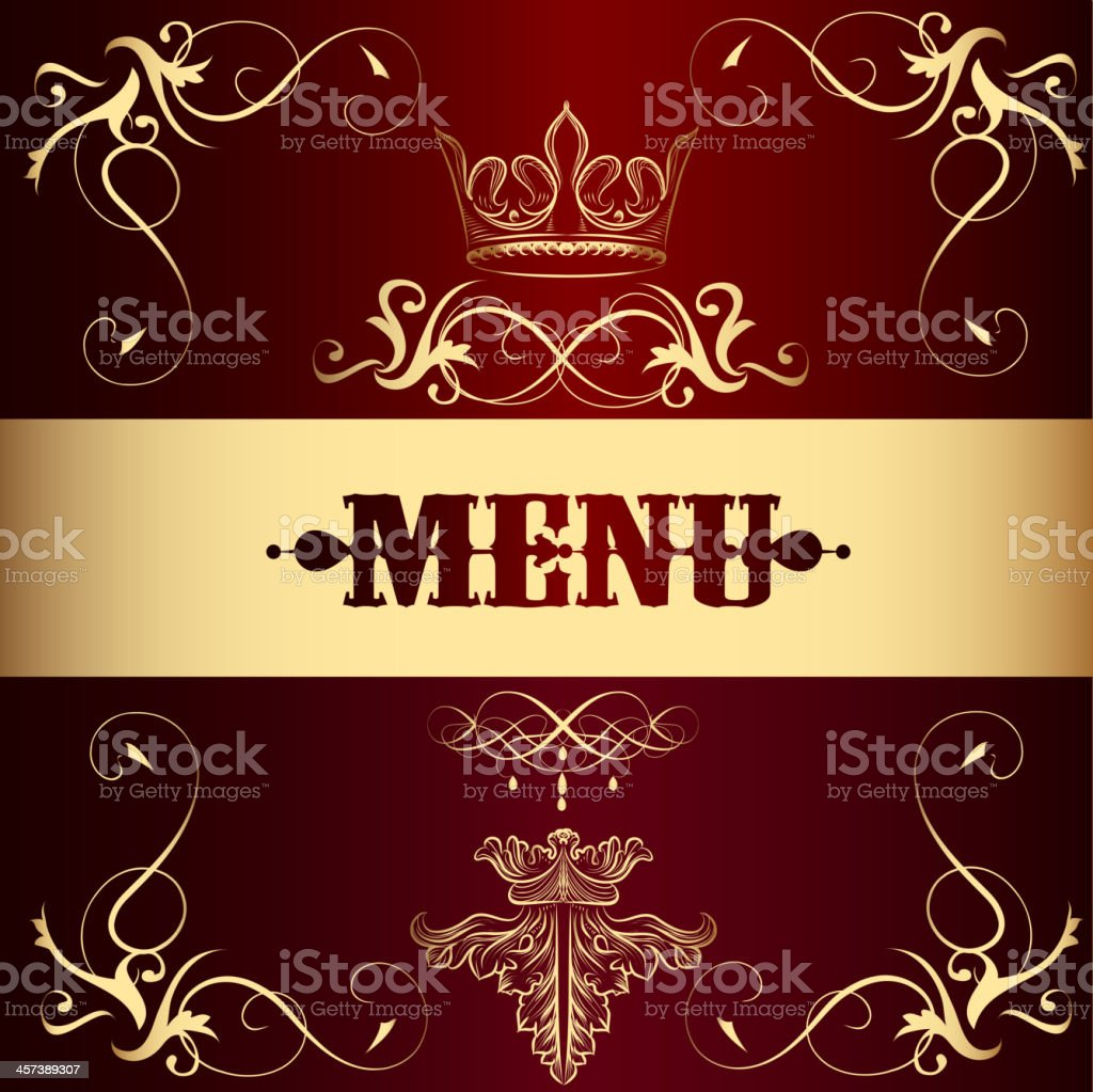 Menu design with crown in vintage style royalty-free stock vector art