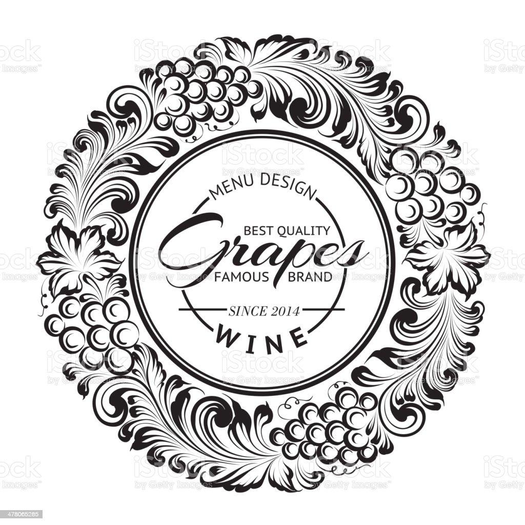 Menu design with radial frame. vector art illustration