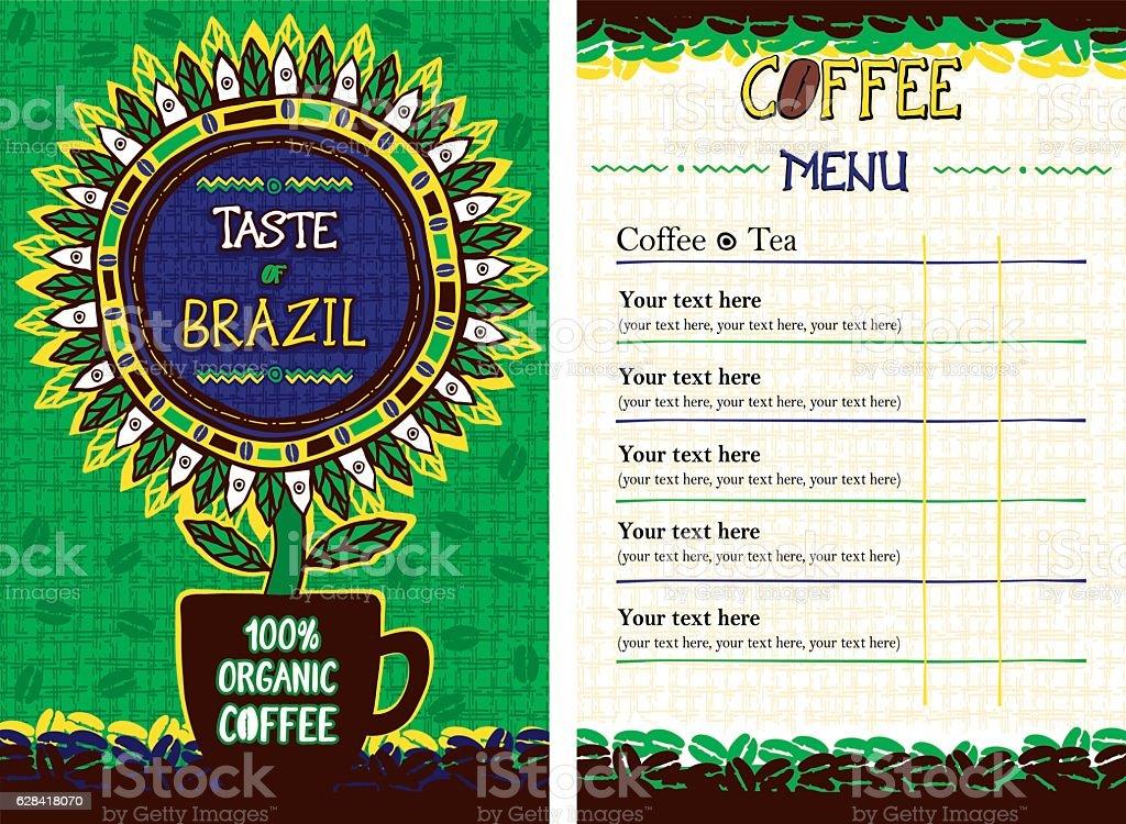 Menu for cafe, bar, coffeehouse, restaurant  - Taste of Brazil vector art illustration