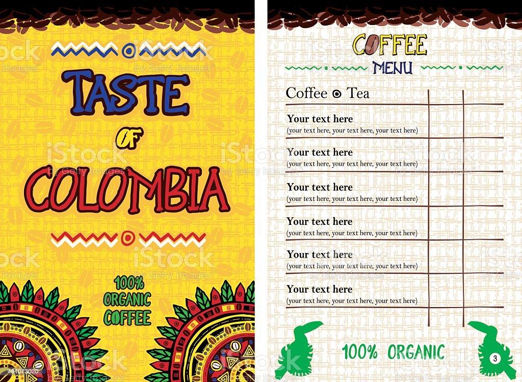 Menu for restaurant, cafe, bar, coffeehouse - Taste of Colombia vector art illustration