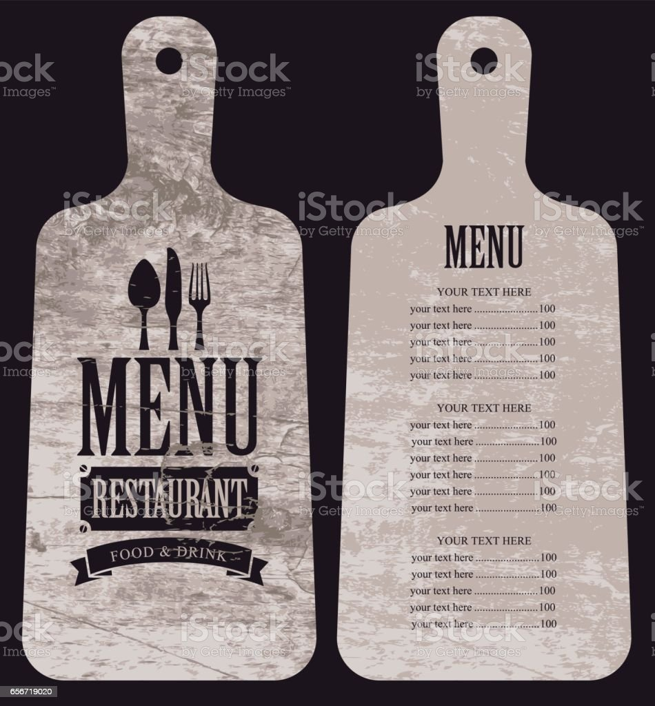 menu for the restaurant in the form cutting board vector art illustration