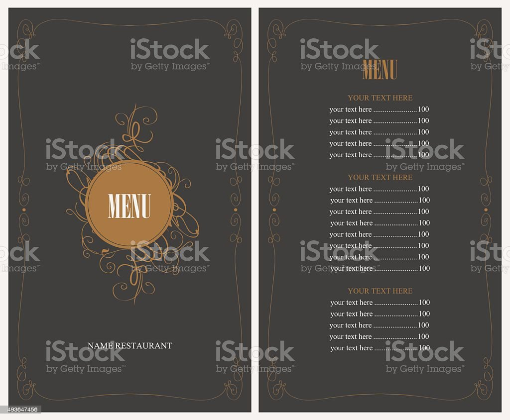 menu for the restaurant vector art illustration