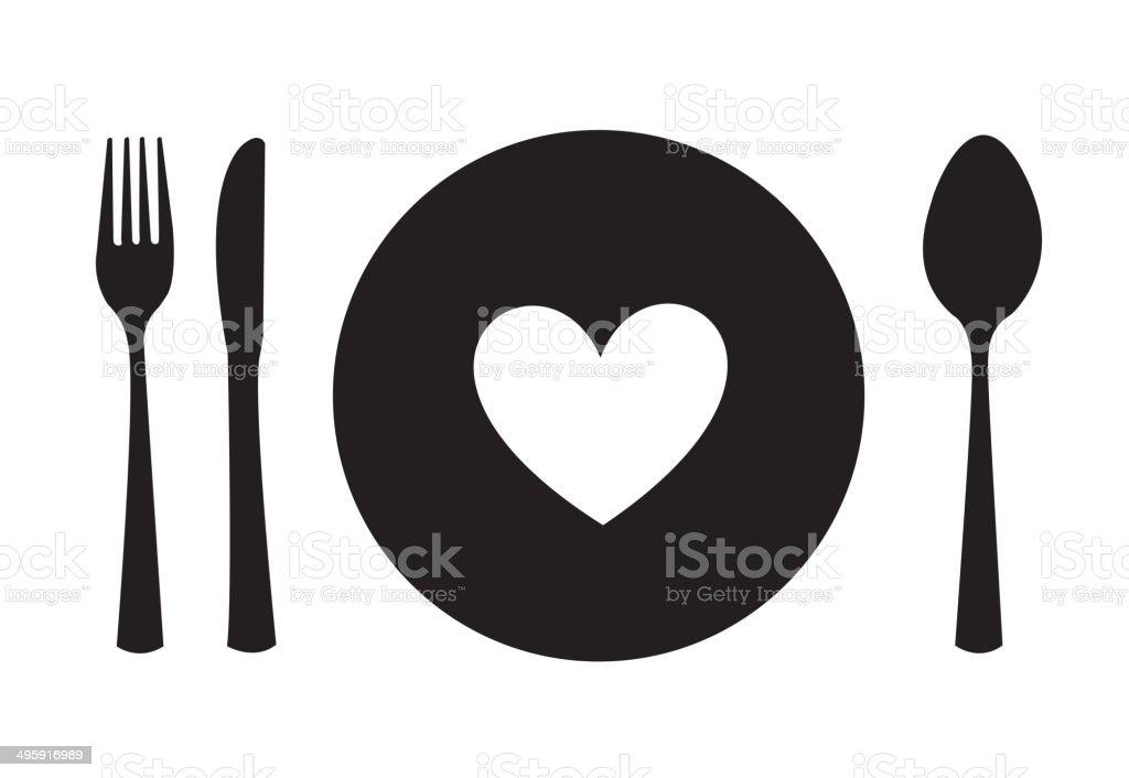 menu heart vector art illustration