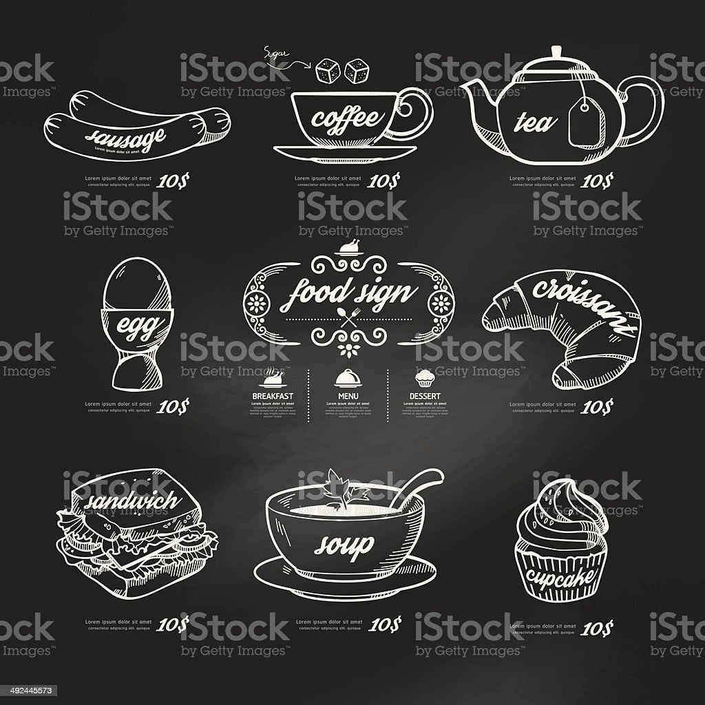 menu icons doodle drawn on chalkboard background .Vector vintage vector art illustration
