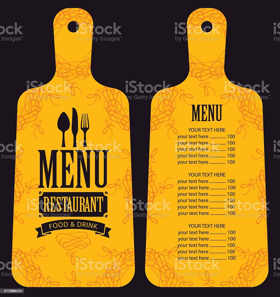 menu in the form of cutting board vector art illustration