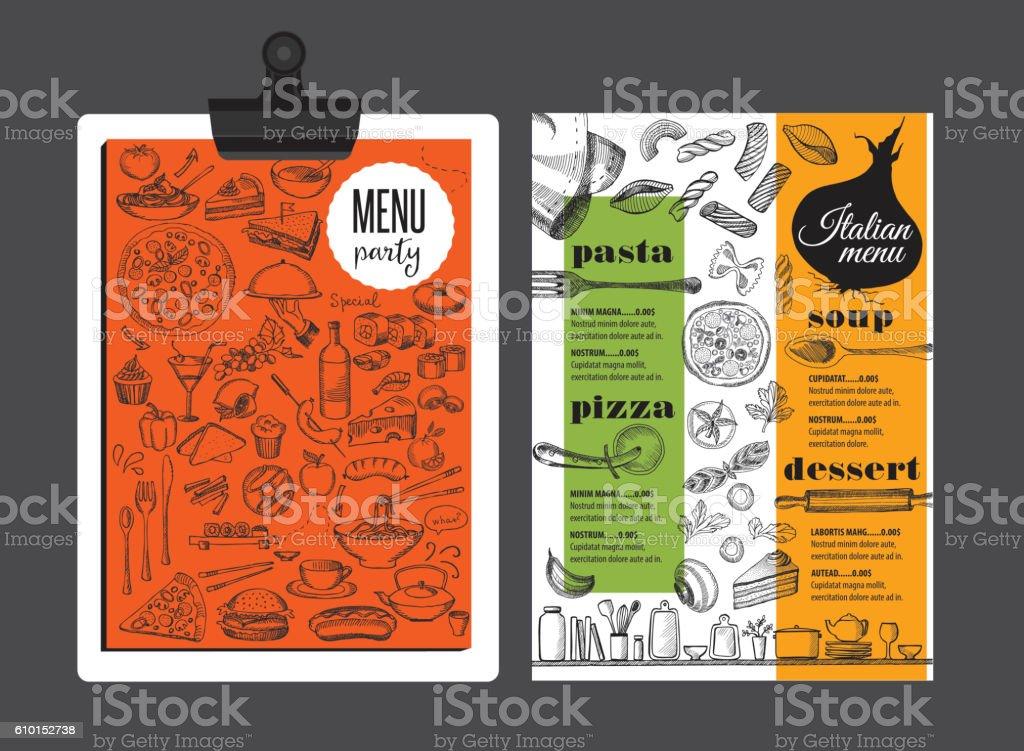 Menu italian restaurant, food template placemat. vector art illustration
