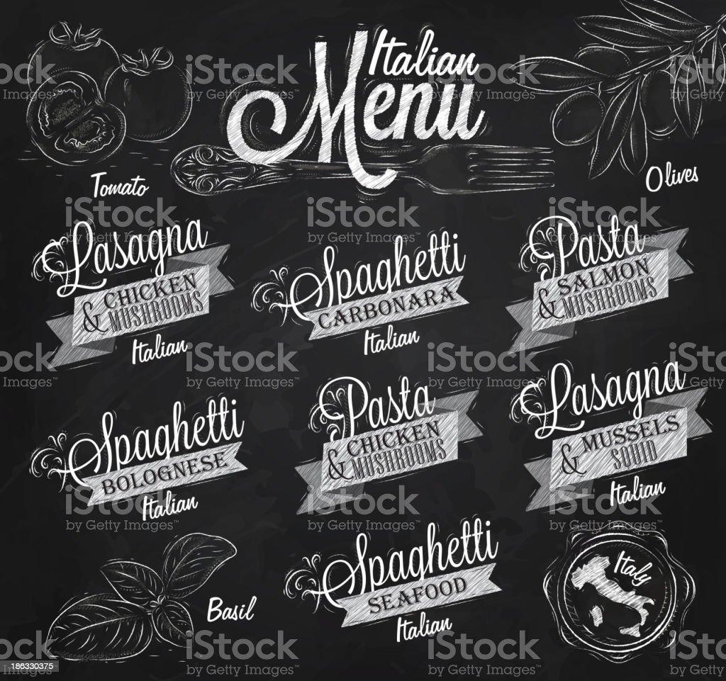 Menu Italian spaghetti chalk royalty-free stock vector art