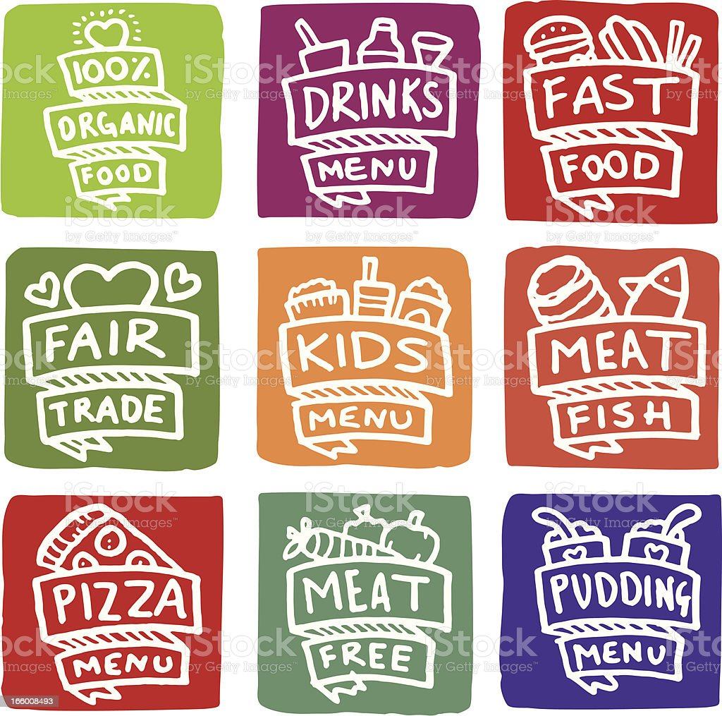 Menu item icons block icon set vector art illustration