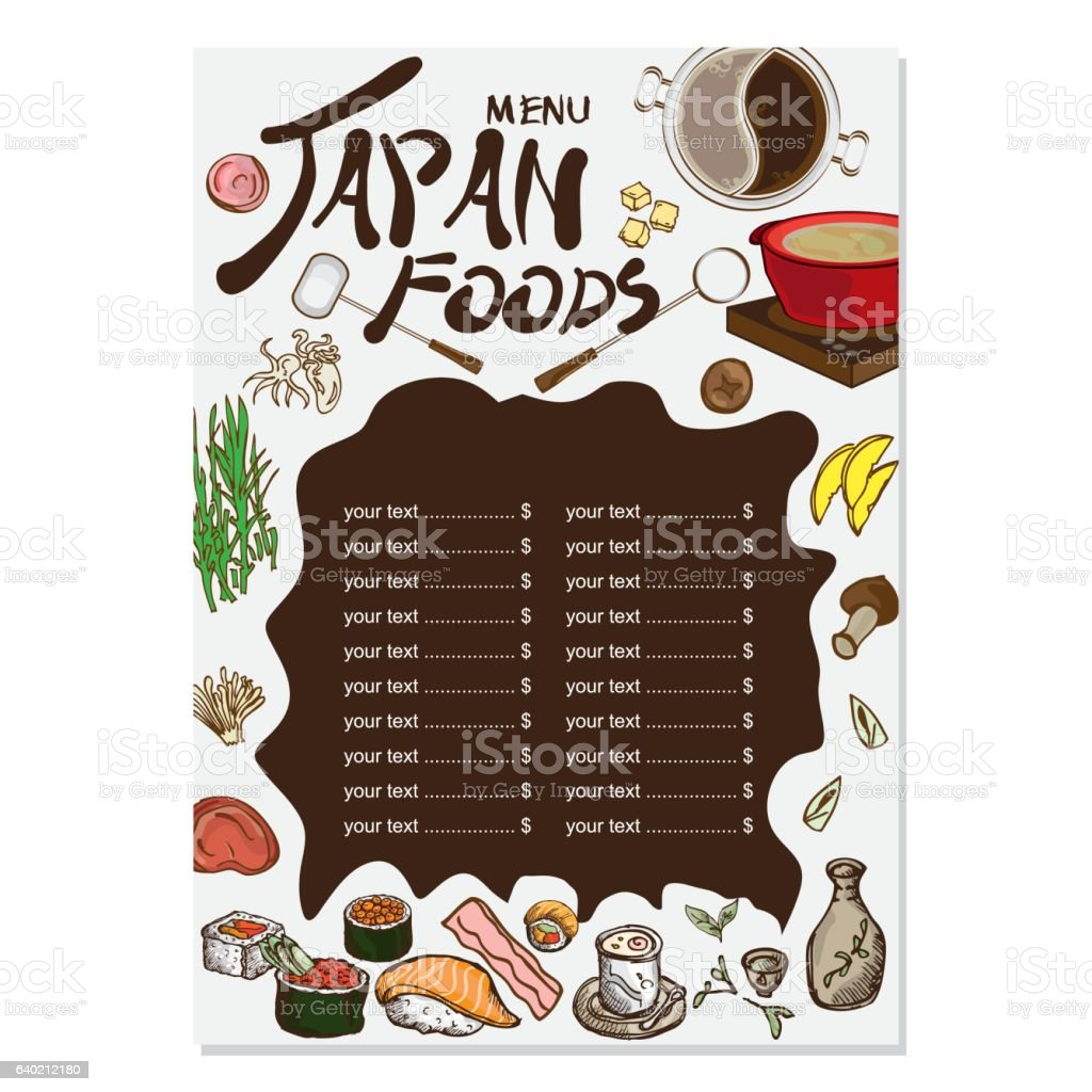 For restaurant pictures graphics illustrations clipart photos - Menu Japanese Food Drawing Graphic Design Objects Template Royalty Free Stock Vector Art