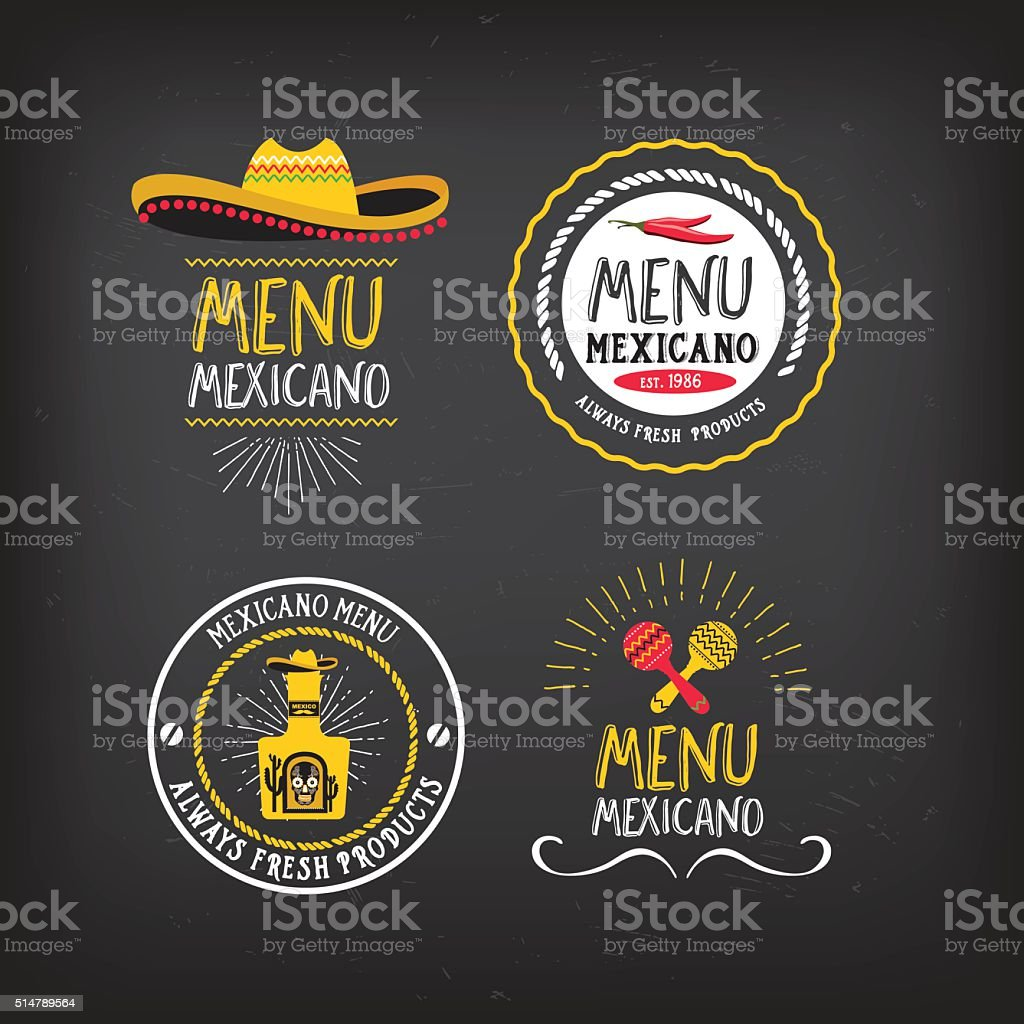Menu mexican badge design. vector art illustration