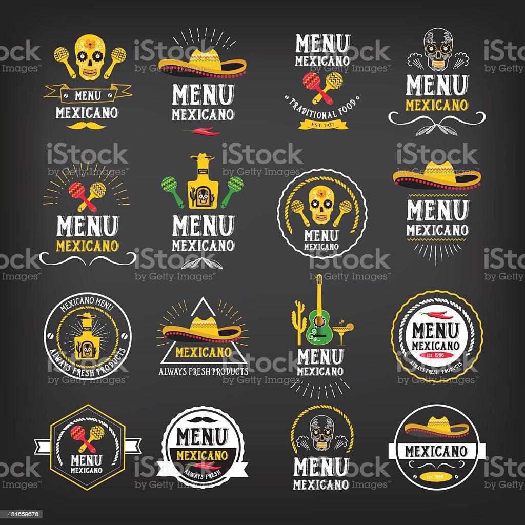 Menu mexican logo and badge design. vector art illustration
