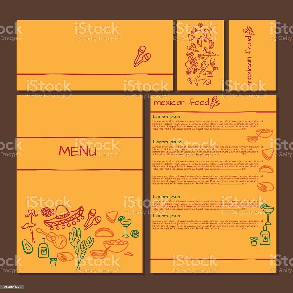 Menu of Mexican food, cinco de mayo elements vector art illustration