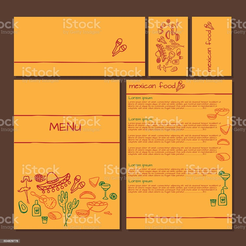 Menu of Mexican food, cinco de mayo elements vector art illustration