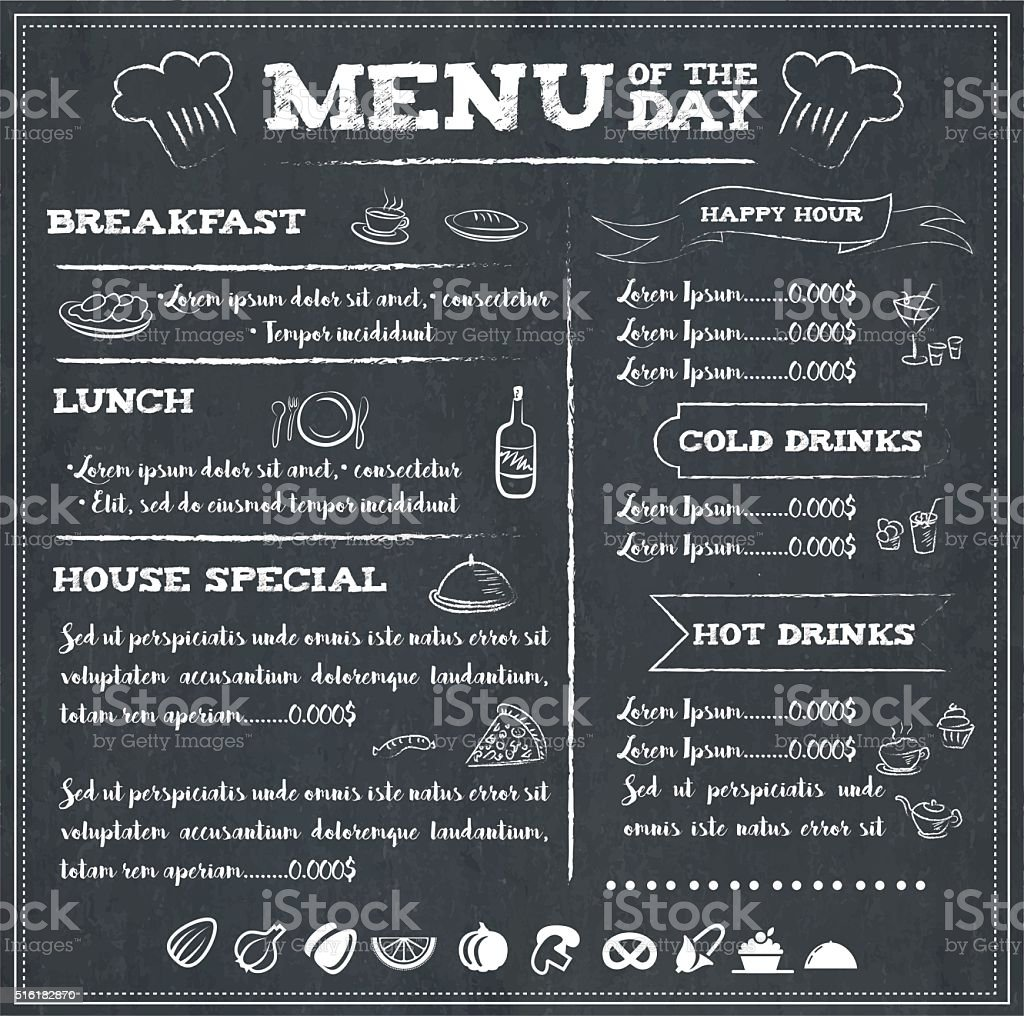 Menu of the day vector art illustration