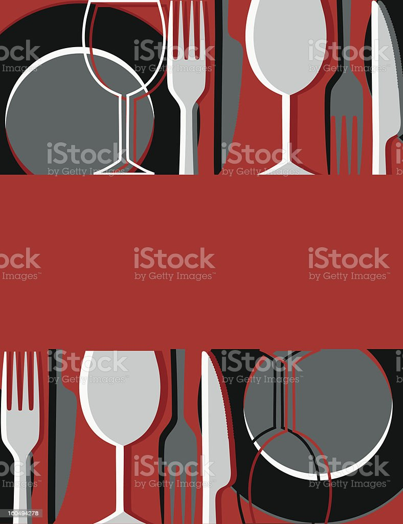 A menu or restaurant card with restaurant icons on it  royalty-free stock vector art