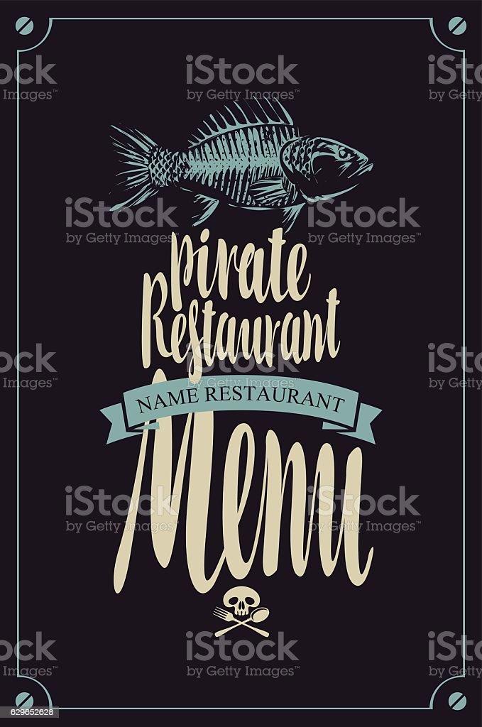 menu pirate restaurants vector art illustration