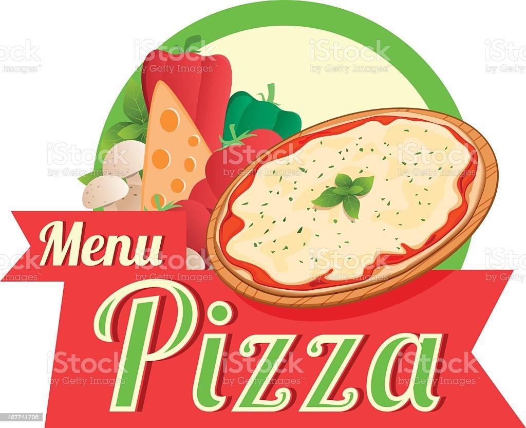 Menu pizza vector art illustration