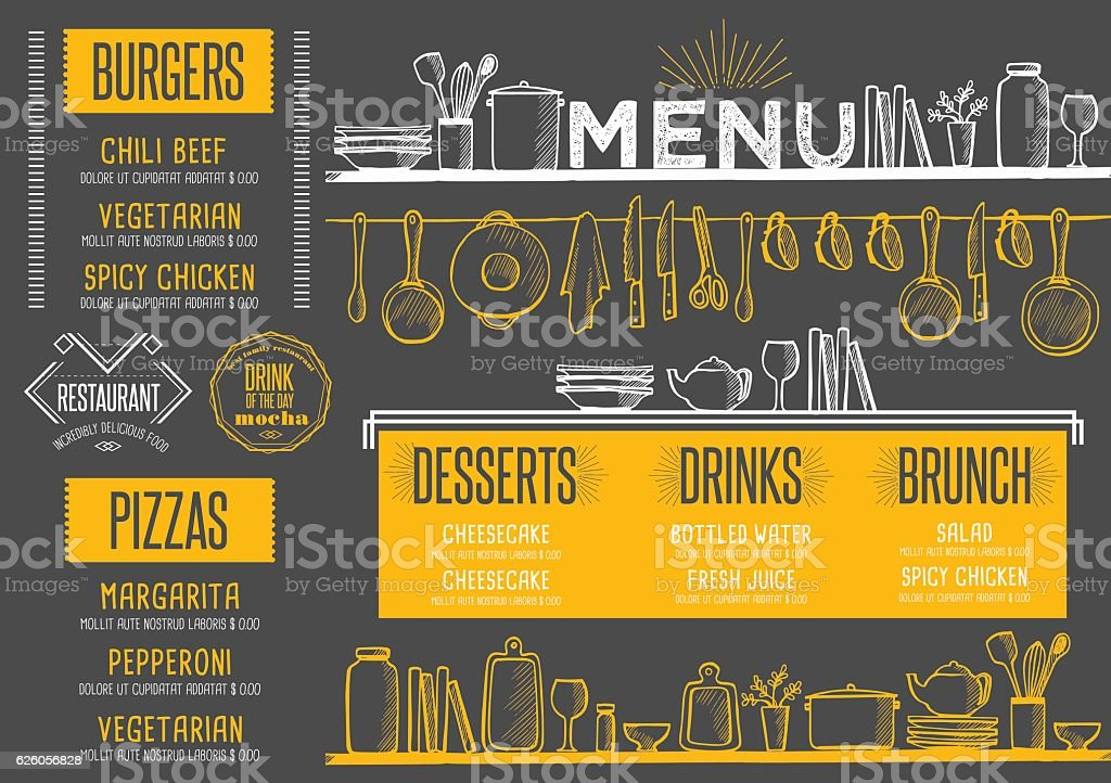 Menu restaurant, food template placemat. vector art illustration