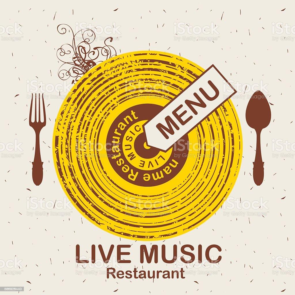 menu restaurant with live music vector art illustration