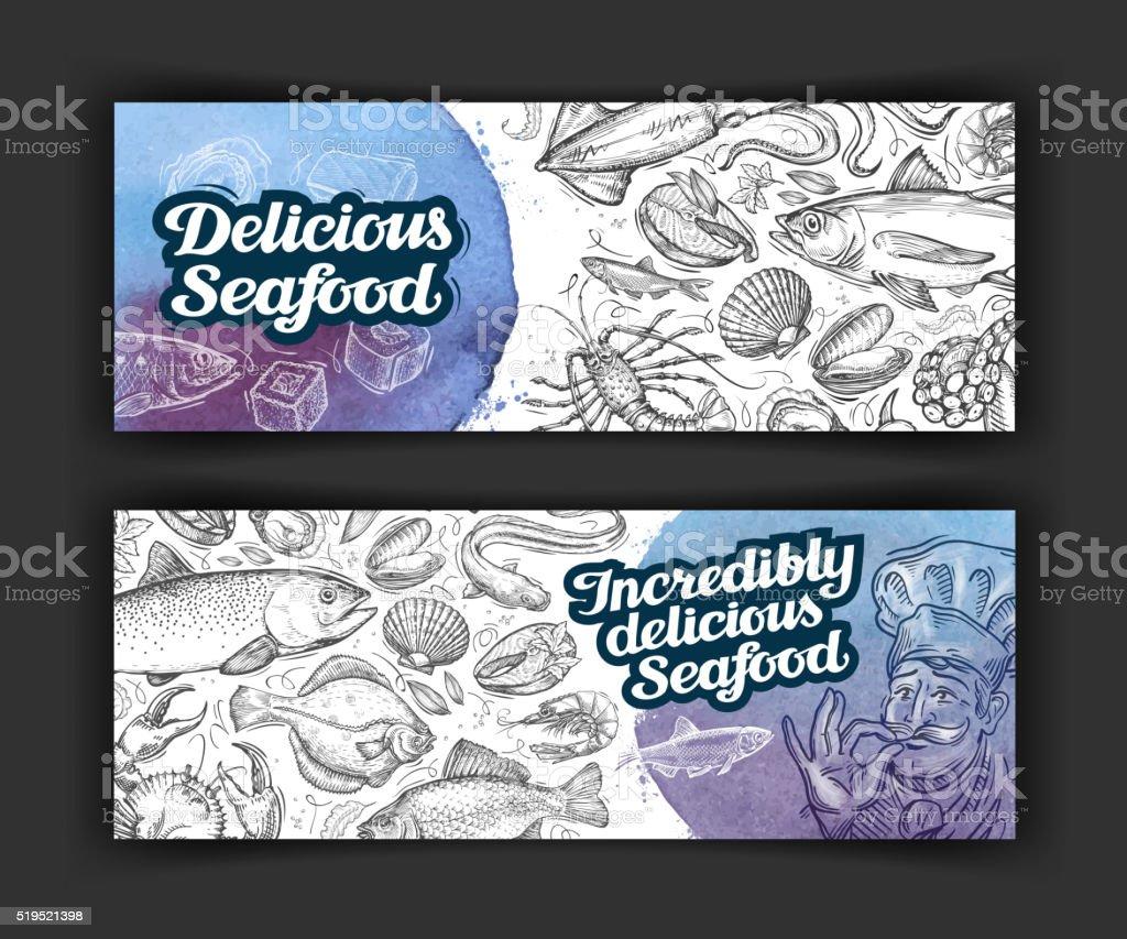 menu seafood. vector template brochure or flyer for restaurant and vector art illustration