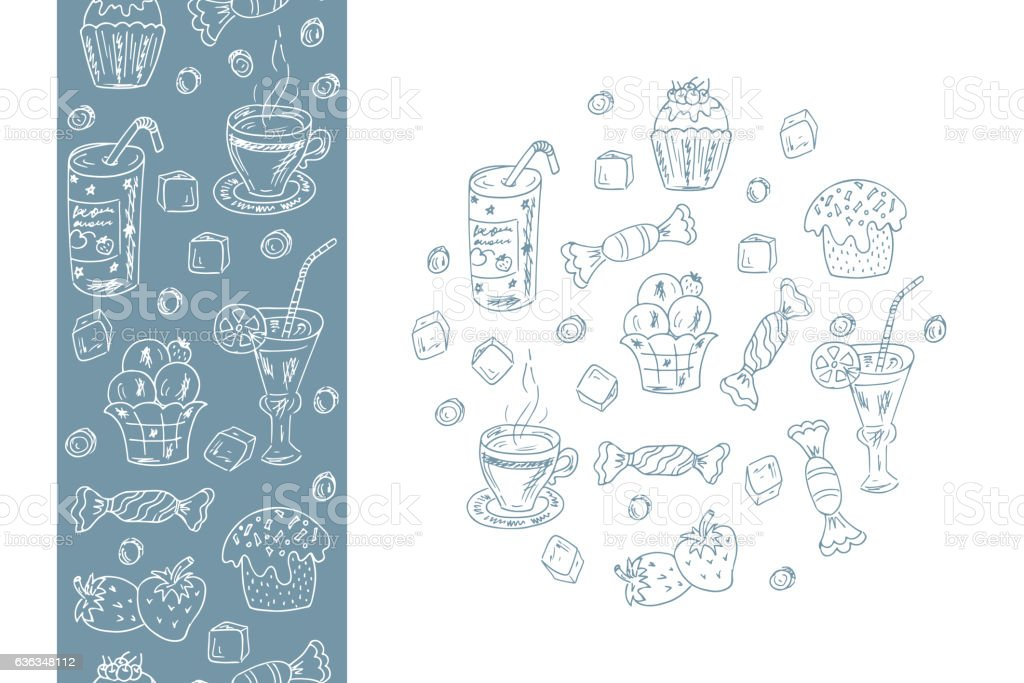 Menu template. Desserts elements in circle shape and Seamless border vector art illustration