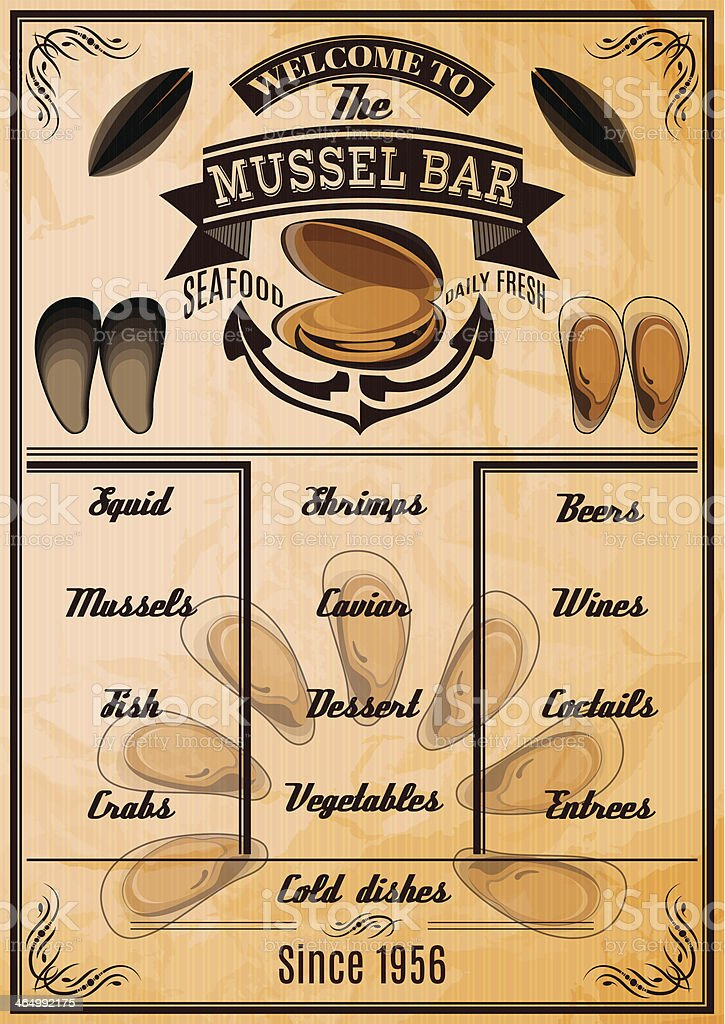 menu template with mussels for seafood restaurant royalty-free stock vector art
