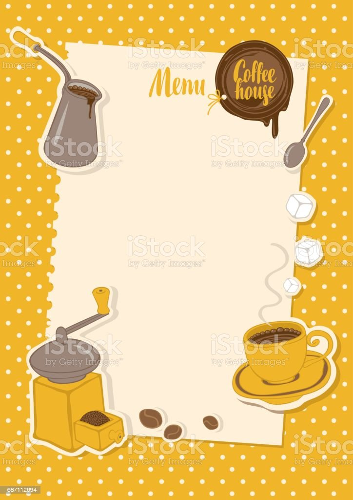 menu with a cup, sugar, cezve and coffee grinder vector art illustration