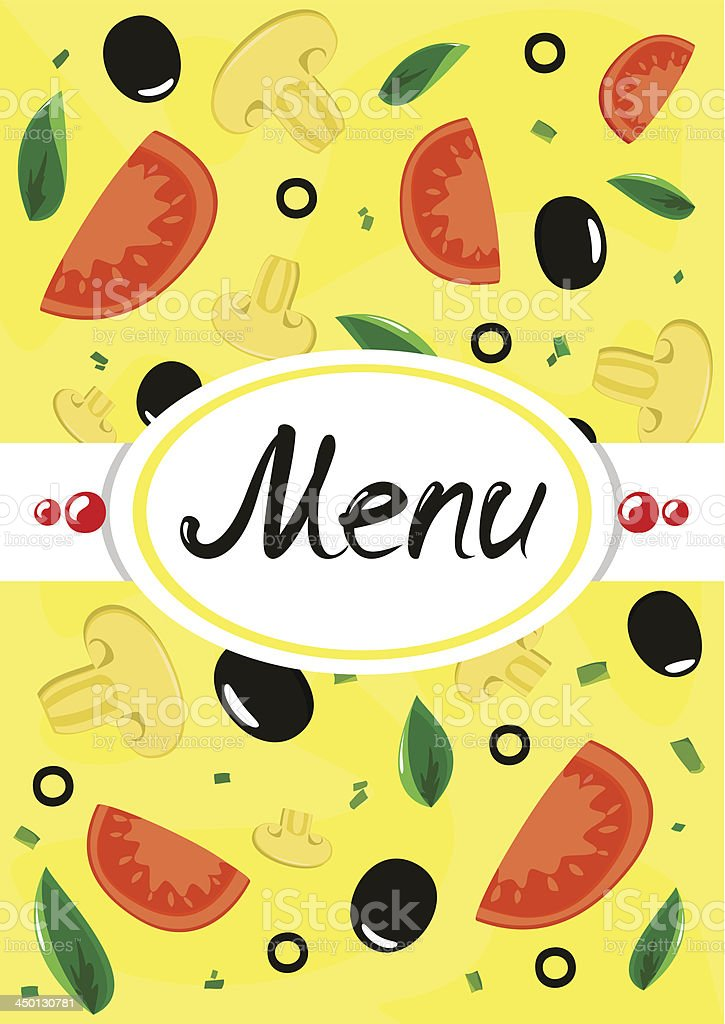 Menu with vegetables and mushrooms. royalty-free stock vector art