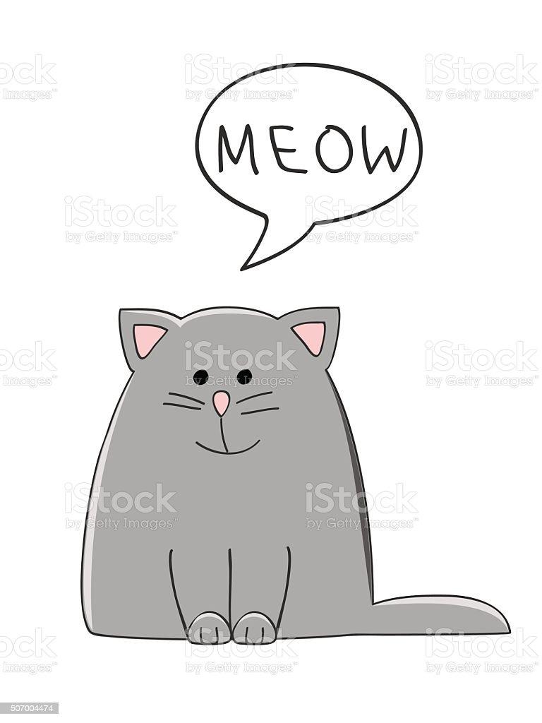 meow cat vector art illustration