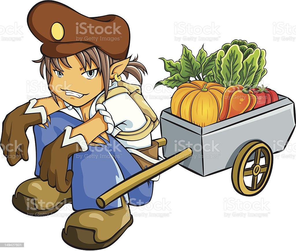 Merchant Selling Vegetables royalty-free stock vector art