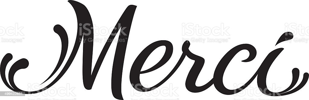 merci - hand written text royalty-free stock vector art