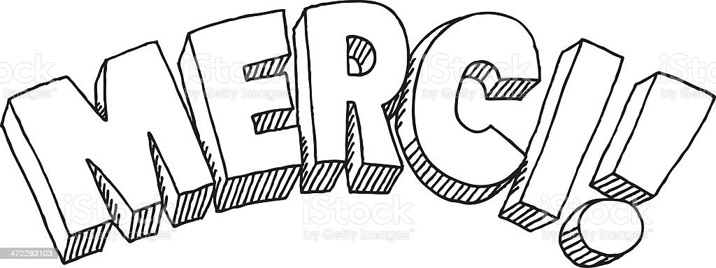 Merci Text Drawing royalty-free stock vector art