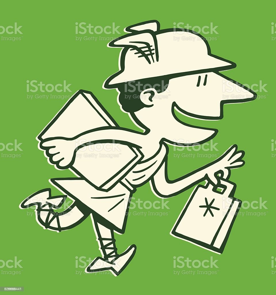 Mercury With Packages vector art illustration