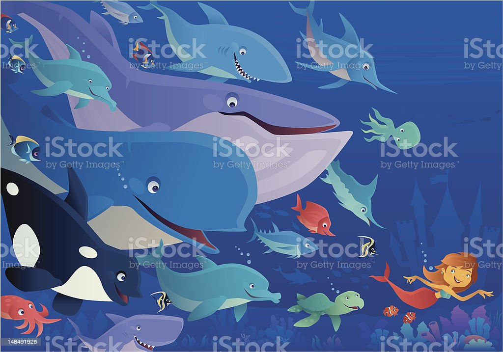 mermaid and friends royalty-free stock vector art