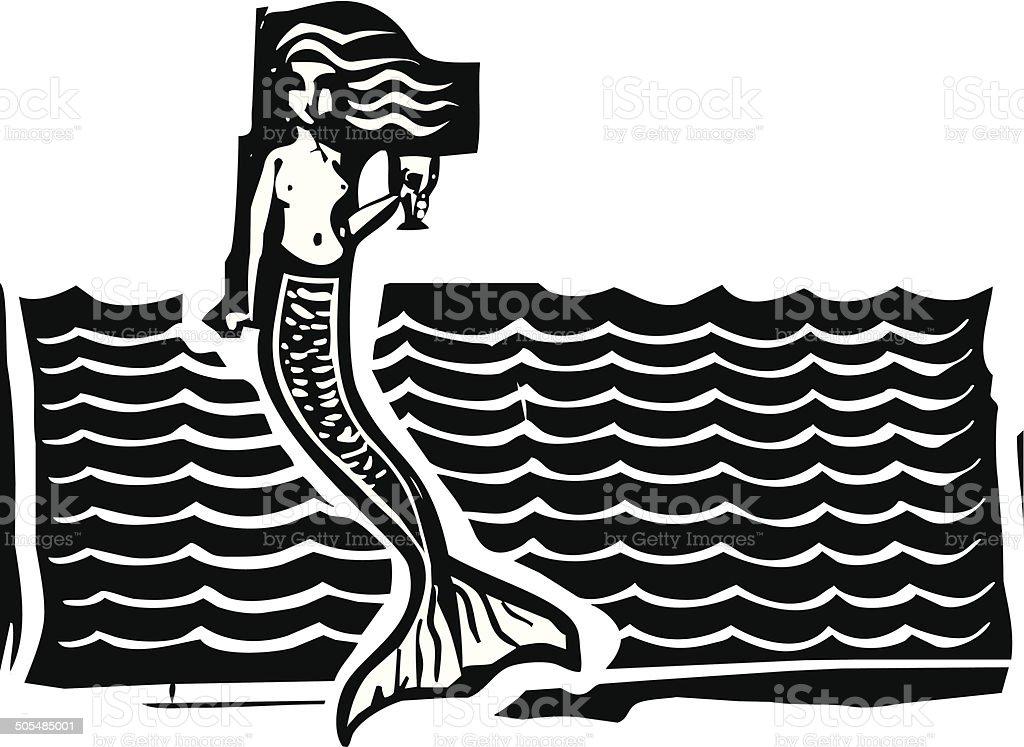 Mermaid and Waves vector art illustration