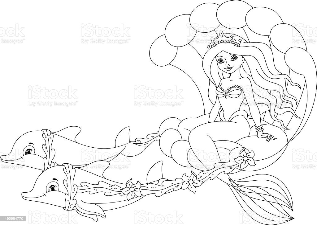 Mermaid Coloring Page stock vector art 495984770 iStock