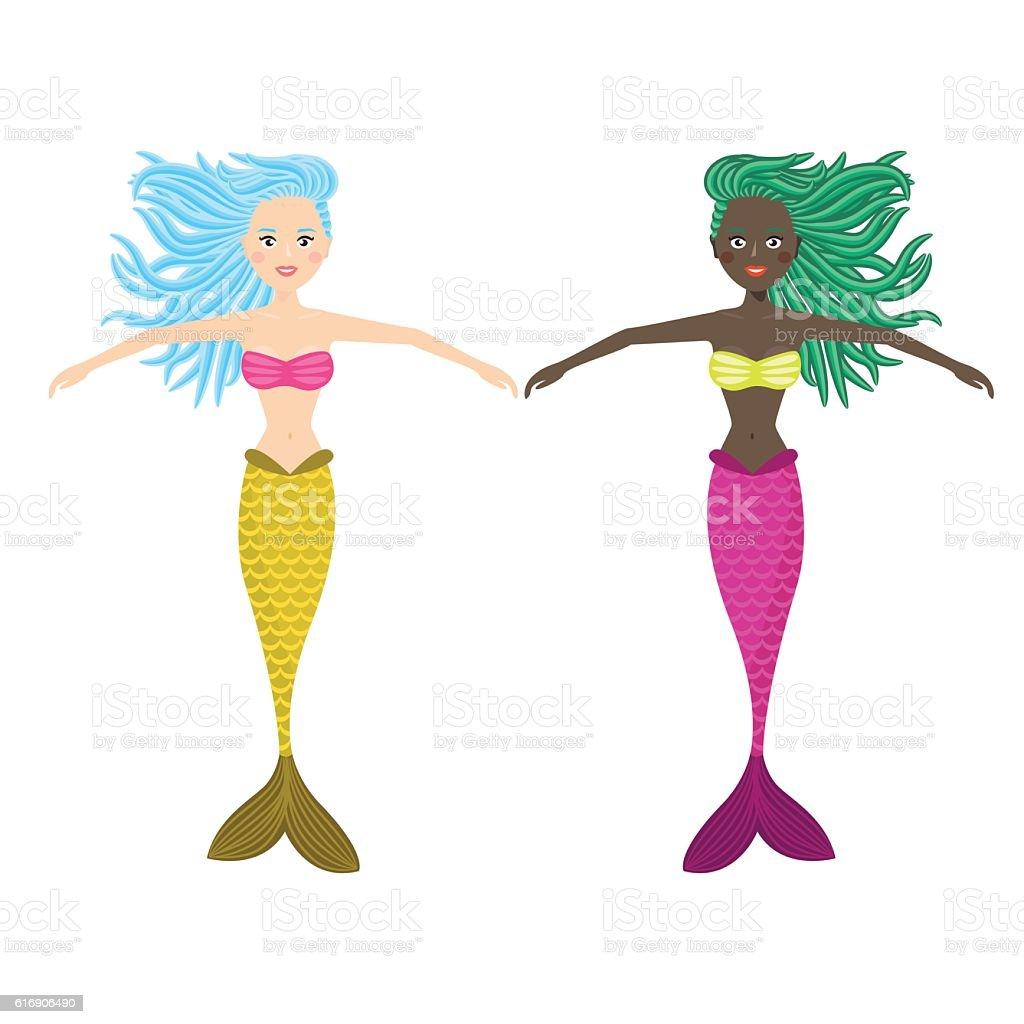 Mermaid cute girl vector illustration. vector art illustration