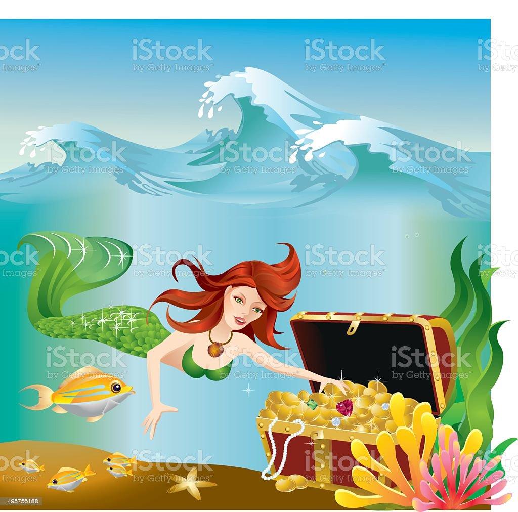 Mermaid exploring treasure under the ocean vector art illustration