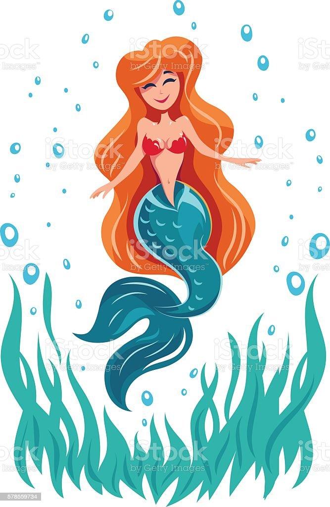 Mermaid fairy tale marine character vector art illustration