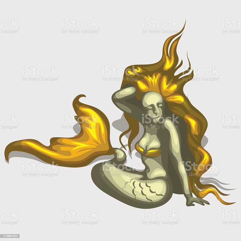 Mermaid image with golden hair and tail vector art illustration