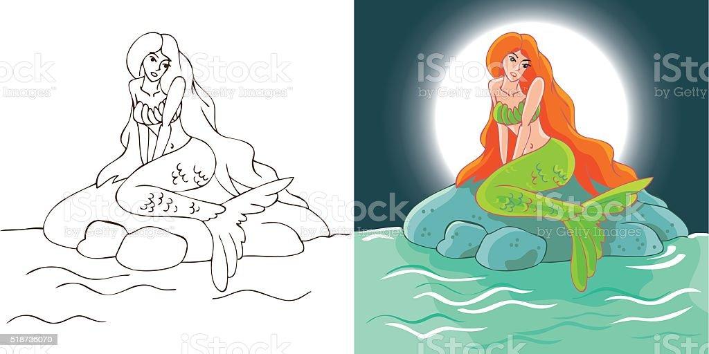 mermaid night at stone vector art illustration