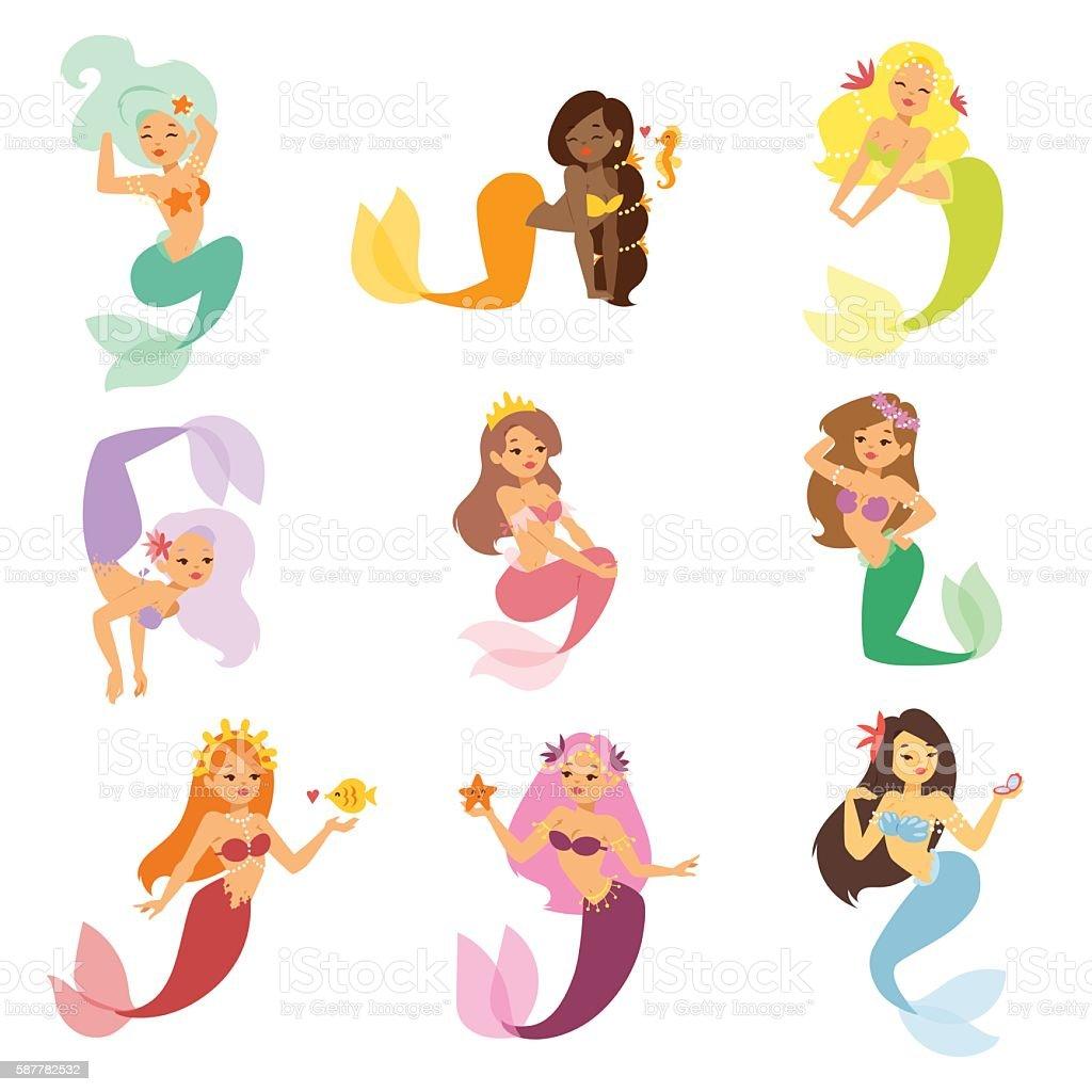 Mermaid nixie character vector illustration vector art illustration