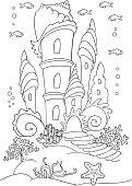 Mermaid s castle at ocean bottom.