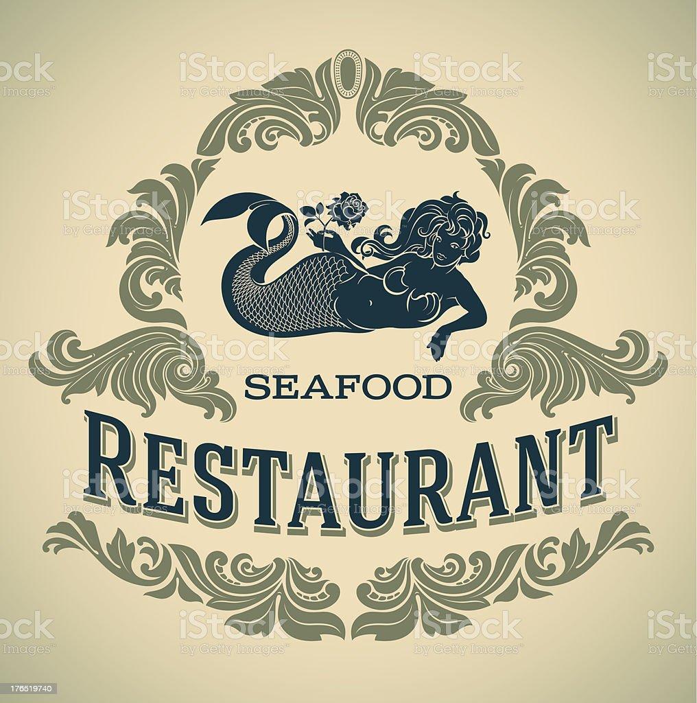 A mermaid seafood restaurant label vector art illustration