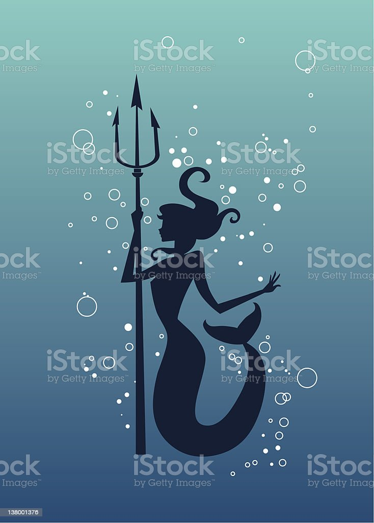 Mermaid silhouette with trident spear vector art illustration
