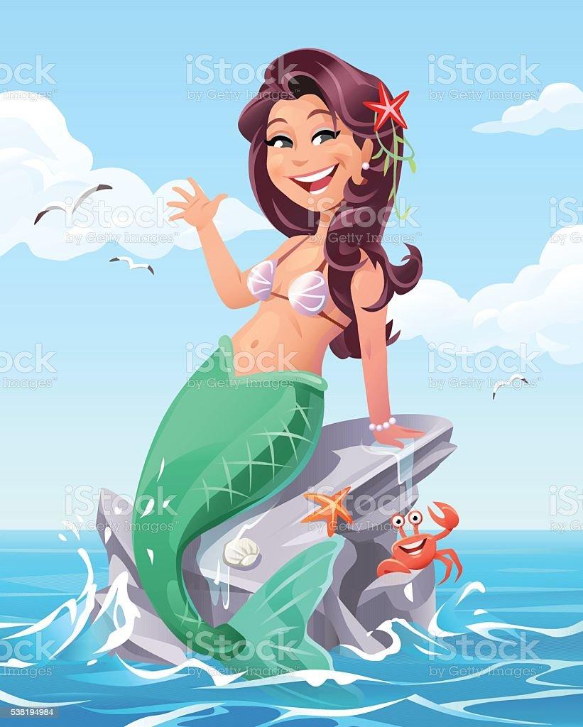 Mermaid Sitting On A Rock In The Sea vector art illustration