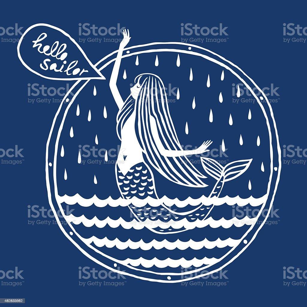 Mermaid vector art illustration